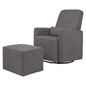 DaVinci Olive Upholstered Swivel Glider with Bonus Ottoman in Dark Grey
