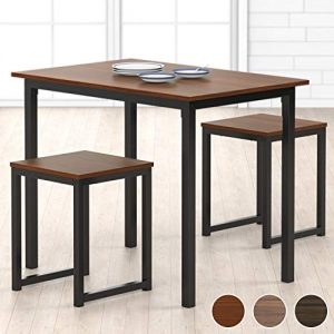 HOMURY Modern Wood 3 Piece Dining Set Studio Collection Soho Dining Table with Two Stools Home Kitchen Breakfast Table, Dark Brown