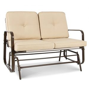Best Choice Products 2-Person Outdoor Patio Glider Loveseat Rocking Chair w/UV-Resistant Cushions - Beige
