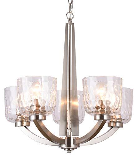 "Alice House 22"" 5-Light E26 Large Chandelier Brushed Nickel Modern Style Hammered Glass Traditional Hanging Pendant Lighting Fixture for Living Room, Dining Room, Kitchen, Bedroom AL6091-H5"