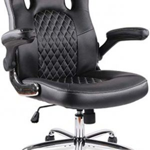 Office Chair Desk Leather Gaming Chair, High Back Ergonomic Adjustable Racing Chair,Task Swivel Executive Computer Chair (Black)