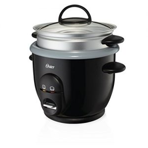 Oster Titanium Infused DuraCeramic 6-Cup Rice & Grain Cooker with Steam Tray, Silver/Black (CKSTRC61K-TECO)