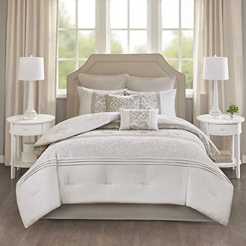"""510 DESIGN Shawneel 8 Piece Bedding Comforter Set for Bedroom, King(104""""x92""""), Seafoam"""