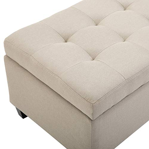 "HomCom 51"" Large Tufted Linen Fabric Ottoman Storage Bench HomCom 51"" Large Tufted Linen Fabric Ottoman Storage Bench with Soft Close Top - Cream White."