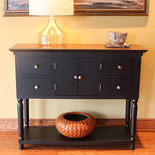 Décor Therapy Taylor Four Drawer Console Table, Black