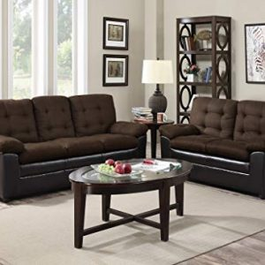 GTU Furniture 2Pc Chocolate Microfiber Sofa and Loveseat Set