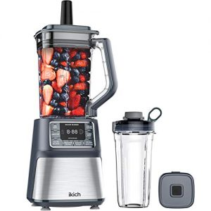 IKICH Vacuum Blender & 25oz Smoothie Cup, Professional Blender Ice Crusher, High-Speed Countertop Kitchen Smoothie Maker with LCD Screen & Timer