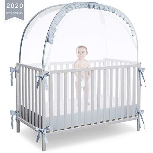 RUNNZER Baby Crib Safety Pop Up Tent, Crib Net to Keep Baby in
