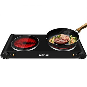 CUSIMAX 1800W Ceramic Hot Plate, Portable Infrared Burner, 7 Inch Glass Double Burner, Electric Burner, Dual Countertop Electric Cooktop, Stainless Steel Easy to Clean, Compatible with All Cookware