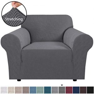 "H.VERSAILTEX Stretch Chair Slipcover Sofa Cover Furniture Protector Cover Luxury Lycra High Spandex Small Checks Knitted Jacquard Sofa Cover Chair Covers for Living Room (Armchair 32""-48"", Gray)"