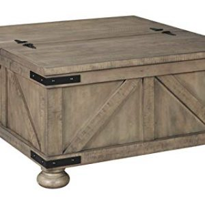 Signature Design by Ashley - Aldwin Farmhouse Storage Coffee Table, Brown Pine Wood
