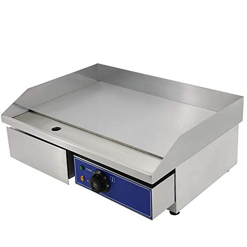 """DULONG Commercial Electric Griddle Flat Top Grill Hot Plate Stainless Steel Kitchen Grill Countertop with Thermostatic Control 1500W 22"""" (Whole Flat Plate)"""