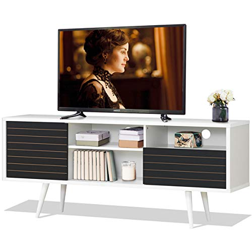Tangkula Mid-Century Modern TV Stand for TVs up to 65'', Wooden TV Stand with Shelves, w/Cabinet & Drawer, TV Console Cabinet for Home Living Room Bedroom (White & Black)