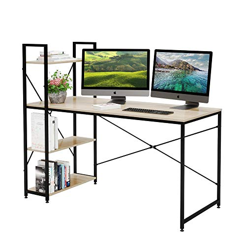 Bestier 55 Inch Computer Desk with Shelves, Modern Writing Desk with Bookshelf, Study Desk Writing Table for Home Office P2 Wood (Oak)