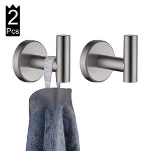 JQK Bathroom Towel Hook, Coat Robe Clothes Bath Wall Hooks for Kitchen Garage, 2 Pack Brushed Finish, A1160-BN-P2
