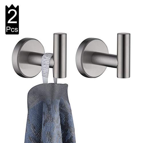 JQK Bathroom Towel Hook, Coat Robe Clothes Bath Wall Hooks for Kitchen Garage, 2 Pack Brushed Finish, A1160-BN-P2
