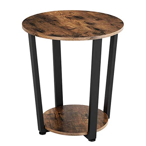 KingSo Round End Table 2-Tier Industrial Side Table with Storage Shelf Metal Frame Nightstand Easy Assembly & Sturdy Sofa Coffee Table for Living Room, Bedroom, Rustic Brown