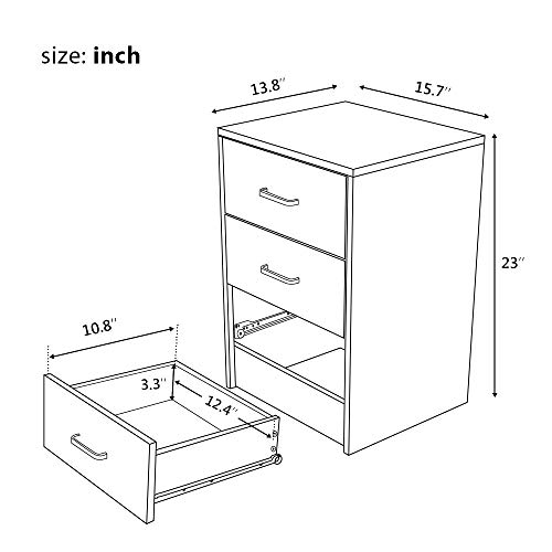 Yaheetech Nightstands Bedside Tables with 3 Drawers Package deal Dimensions: 27.6 x 23.2 x 15.eight inches