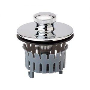 "Drain Buddy Bathtub Drain Stopper with Hair Catcher Basket | Fits 1.5"" Wide x 1.25"" Deep Tub Drains | No Install Clog Prevention Tub Strainer | Premium Metal Chrome Cap"