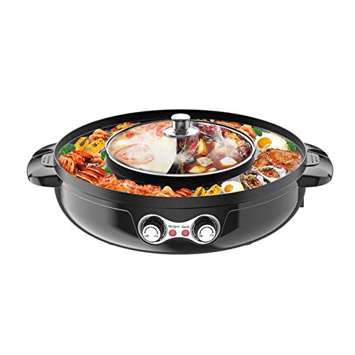 TOPQSC 2 in 1 Electric Smokeless Grill and Hot Pot Electric Hot Pot Grill 2200W Indoor Teppanyaki Grill/Shabu Shabu Pot Multifunctional Hot Pot Split-Design Baking Tray.Easy Cleaning.