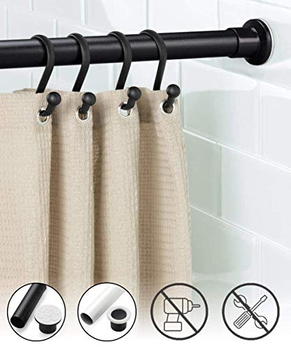 Oxdigi Tension Shower Doorway Curtain Rod Short / 43.3-63 inches Small No Drilling Adjustable Window Curtain Rod for Bethroom, Indoor Decor/Black