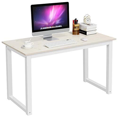 YAHEETECH Modern Computer Desk Writing Study Table Dining Table for Home Office, PC Laptop Cart Workstation, Beige