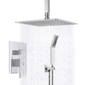 SR SUN RISE SRSH-CC10 Ceiling Mount Bathroom Luxury Rain Mixer Shower Combo Set Ceiling Install Rainfall Shower Head System Polished Chrome