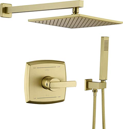 """Shower System, Shower Faucet Set with Dual Functions, Bathroom Luxury Brass Brushed Gold with 10"""" Rain Shower Head Wall Mounted Shower Set All Metal, Brushed Gold (Rough in Valve Included)"""