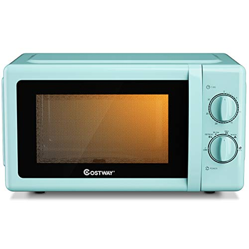 COSTWAY Retro Countertop Microwave Oven, 0.7 Cu. Ft, 700W Mechanical Compact Microwave Oven 6 Micro Power Settings, Glass Turntable and Viewing Window, ETL Certification (Green)