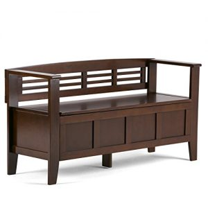 Simpli Home Adams Solid Wood 48 inch Wide Rustic Entryway Storage Bench in Rustic Medium Brown
