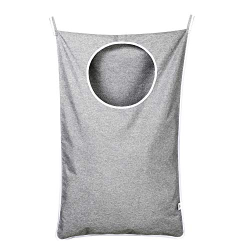 KEEPJOY Hanging Laundry Hamper Bag with Free Adjustable Stainless Steel Door 2 PCs Suction Cup Hooks, Best Choice for Holding Dirty Clothes and Saving Space, Grey