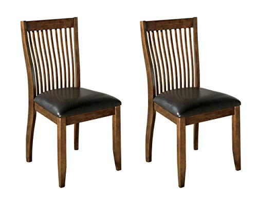 Signature Design by Ashley - Stuman Dining Side Chair - Comb Back - Set of 2 - Brown Base and Black Upolstered Seat