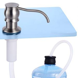 "Sink Soap Dispenser (Brushed Nickel) with 40"" Silicone Extension Tube Kit, Complete Brass Pump"