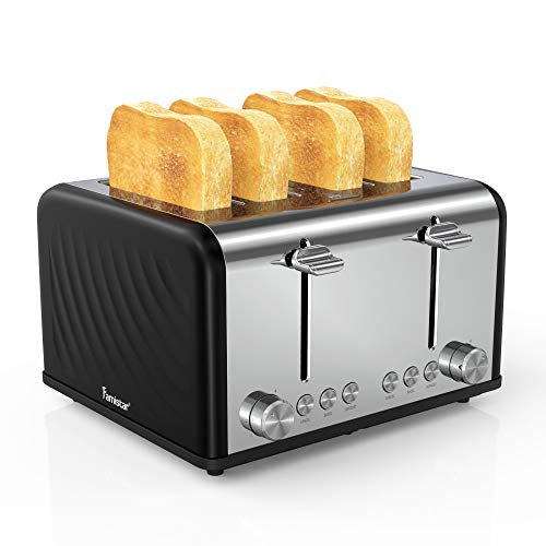 4 Slice Toaster,Famistar Best Rated Prime Toasters Extra Wide Slots Stainless Steel Toaster(6 Bread Shade Settings, Defrost/Reheat/Cancel Function,Removable Crumb Tray, 1650W)