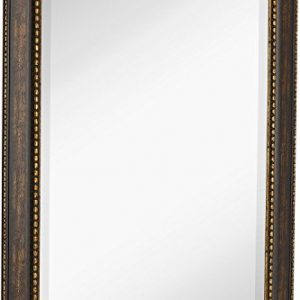 "NEW Large Embellished Transitional Rectangle Wall Mirror | Luxury Designer Accented Frame | Solid Beveled Glass| Made In USA | Vanity, Bedroom, or Bathroom | Hangs Horizontal or Vertical 30"" x 40"""