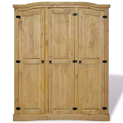 Nishore Wood Armoire Wardrobe, Large Bedroom Closet Wardrobe Mexican Pine Corona Range 3 Doors