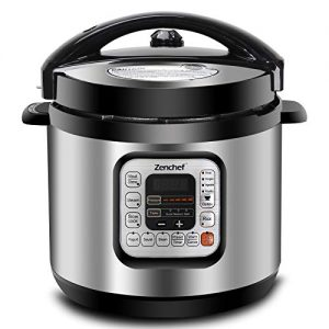 Zenchef 11-in-1 5th-Generation Stainless Steel 6Qt Electric Pressure Cooker w/Rice Scooper, and Measuring Cup, 1000W
