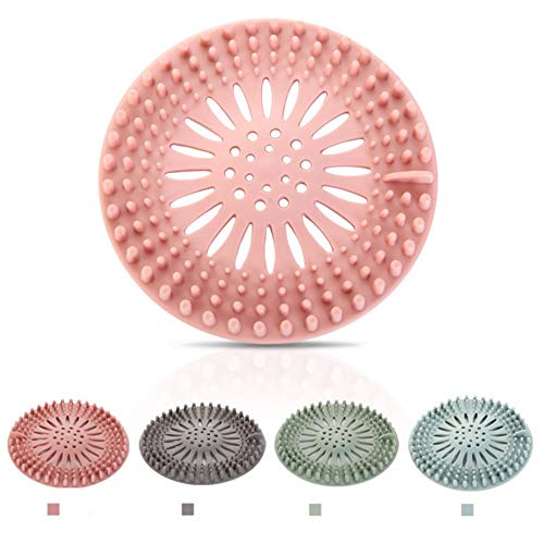 Rubber Hair Stopper Hair Catcher Durable Silicone 4 Pack Filter for Kitchen Bathroom and Bath tub Hair Stopper Shower Drain Covers Easy to Install and Clean
