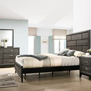 Roundhill Furniture Stout Panel Queen Size Bedroom Set with Bed, Dresser, Mirror, Night Stand, Grey