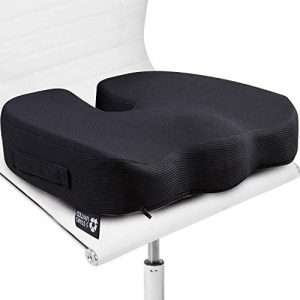 Seat Cushion Pillow for Office Chair - 100% Memory Foam Firm Coccyx Pad - Tailbone, Sciatica, Lower Back Pain Relief - Contoured Posture Corrector for Car, Wheelchair, Computer and Desk Chair