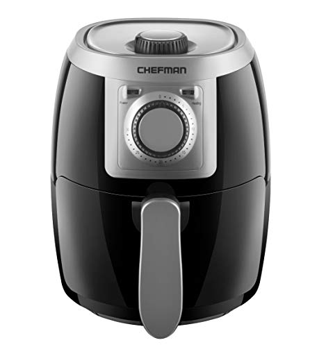 Chefman TurboFry 2 Quart Air Fryer, Personal Compact Healthy Fryer w/ Adjustable Temperature Control, 30 Minute Timer and Dishwasher Safe Basket, Black