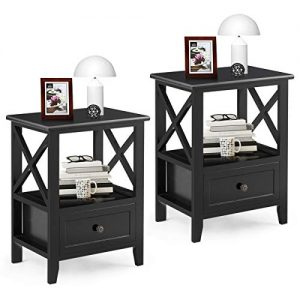 "Giantex Giantex Nightstand Set of 2 Small End Tables W/Storage Shelf and Wooden Drawer 16""×12""×20"" for Living Room Bedroom Bedside Accent Home Furniture Mini Side Table(Black)"