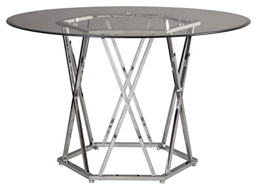 Signature Design By Ashley - Madanere Round Dining Room Table - Contemporary Style - Glass Top/Chrome Finish