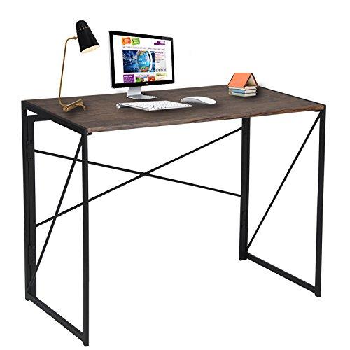Writing Computer Desk Modern Simple Study Desk Industrial Style Folding Laptop Table for Home Office Notebook Desk Brown Desktop Black Frame