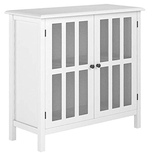 Tangkula Console Cabinet Storage White Glass Door Sideboard Console Table Server Display Buffet Cabinet (White)