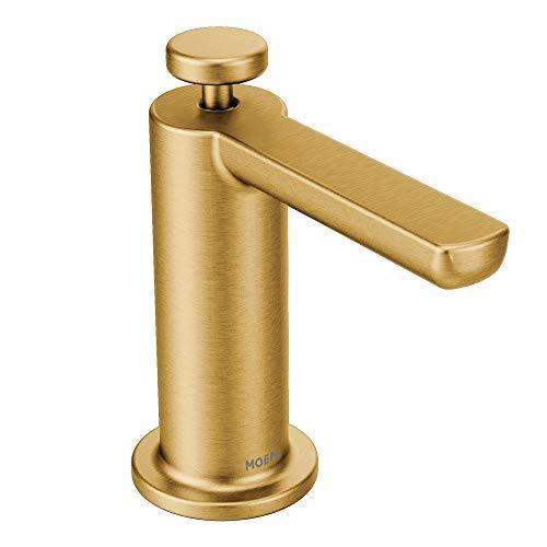 Moen S3947BG Modern Deck Mounted Kitchen Soap Dispenser with Above the Sink Refillable Bottle, Brushed Gold