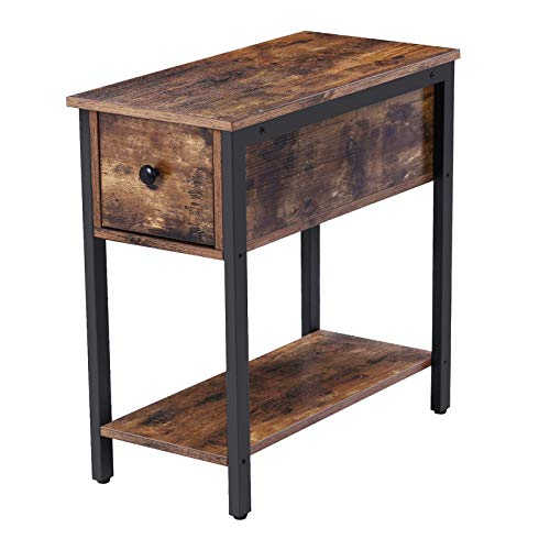 HOOBRO Side Table, 2-Tier Nightstand with Drawer, Narrow End Table for Small Spaces, Stable and Sturdy Construction, Wood Look Accent Furniture with Metal Frame, Rustic Brown BF04BZ01