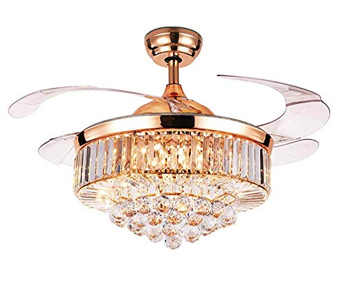 """RuiWing 42"""" Indoor Crystal Ceiling Fan with LED Light and Remote Control, Retractable Fandelier 3 Colors 3 Speeds with Silent Motor Luxury Fandelier for Bedroom Living Room (Modern)"""