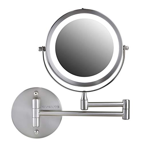 Ovente Wall Mounted Vanity Makeup Mirror 7 Inch with 7X Magnification and LED Light, 360 Degree Swivel Rotation with Distortion Free View, 4 AAA Batteries Operated, Nickel Brushed (MFW70BR1X7X)