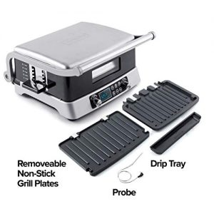 NUWAVE JUBILEE 1800-Watt Double Grill, Integrated Digital Temp Probe, Non-Stick & Removable Grilling Plates for Easy Cleaning, Top and Bottom grill Independently